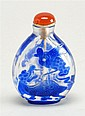 OVERLAY GLASS SNUFF BOTTLE In pear shape with bat, bird, dragon, and knot design in blue on a clear ground. Height 2¼