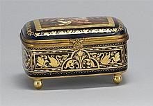 AUSTRIAN PORCELAIN DRESSER BOX In cobalt blue with highly stylized gilt decoration. Hand-painted cover depicts a man and a semi-nude...