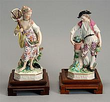 PAIR OF ENGLISH DERBY PORCELAIN FIGURES Depicting a male farmer, height 6¾