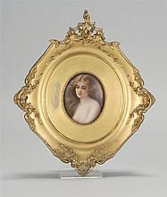 FRAMED KPM PAINTED PORCELAIN PLAQUE Bust portrait of a scantily clad young lady. Oval, 3¼