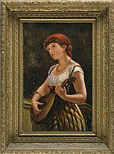 CONTINENTAL SCHOOL, 19th Century, A young maiden playing a lute., Oil on canvas, 22