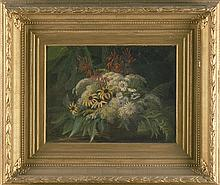 CONTINENTAL SCHOOL, 19th Century, Flowers spilling out of a basket., Oil on canvas, 12