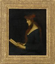 JEAN-JACQUES HENNER, French, 1829-1905, Portrait of a woman reading., Oil on canvas, 18