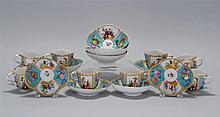 SET OF TEN DRESDEN PORCELAIN CUPS AND SAUCERS With floral and classical painted panels.