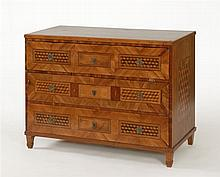 CONTINENTAL EUROPEAN THREE-DRAWER CHEST With marquetry-inlaid sides and drawer fronts. Square tapered legs. Height 35½