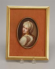 FRAMED PORTRAIT ON PORCELAIN Depicts a young woman. Oval, 6