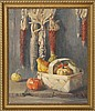 ANNA NASOM, American, 20th Century, Still life of dried corn and autumn vegetables., Oil on canvas, 24