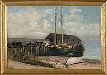 WILLIAM T. ROBINSON, American, 1852-1934, Macara's Wharf, Provincetown., Oil on canvas, 16