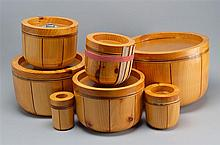 SET OF SEVEN NANTUCKET BASKET MOLDS FOR A NESTING SET Smallest height 4¼