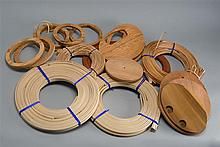 LOT OF NANTUCKET BASKET WEAVING SUPPLIES Including two plastic molds, basket bottoms and tops, and weaving material.