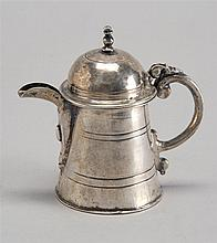 ANTIQUE MINIATURE AMERICAN COIN SILVER TEAPOT. Height 3