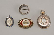 FOUR JEWELRY ITEMS: one sterling silver-cased pocket watch and three lady's pins in unmarked silver cases. One pin with a miniature...