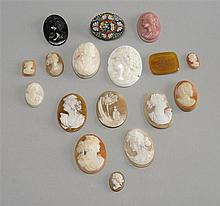 SIXTEEN ASSORTED CAMEOS, INTAGLIOS, AND MICRO-MOSAIC JEWELRY ITEMS.