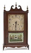 ELI TERRY SHELF CLOCK. Mahogany veneer case with three replaced urn-form brass finials, full-turned columns, and a scrolled bracket...