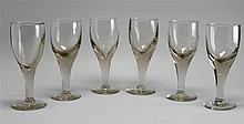 SIX LEADED GLASS GOBLETS. Heights 9.5