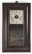 OGEE MANTEL CLOCK with reverse-painted glass tablet depicting a country scene. Eight-day movement. Height 29.25