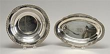 TWO STERLING SILVER ITEMS: a bread tray, length 11.25