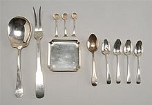 ELEVEN STERLING SILVER ITEMS: a small square dish, a serving spoon, a serving fork, three salt spoons with shell-form bowls, a teasp...