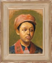 HARLEY BARTLETT, American, Contemporary, Portrait of a boy., Oil on canvas, 14