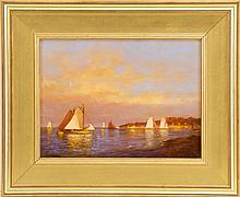 VERNON GEORGE BROE, Maine, 1930-2011, Several catboats anchored off shore., Oil on canvas board, 9