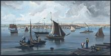 DON AIKENS, Massachusetts, Contemporary, Panoramic view of Boston Harbor as it was in the 19th Century., Oil on masonite. Framed 49