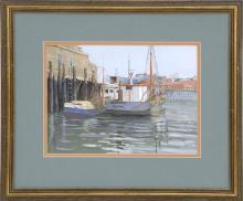 LINE STEVENS HOPKINS TUTWILER, American, Contemporary, Boats at the dock, Gloucester Harbor., Gouache, 8.5
