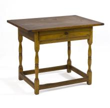 ANTIQUE AMERICAN ONE-DRAWER TAVERN TABLE In pine and maple. Turned legs joined with box stretcher. Height 27.5