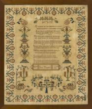 FRAMED ANTIQUE AMERICAN NEEDLEWORK SAMPLER Wrought by Jane Taylor, age 14. Dated 1835. Central proverb