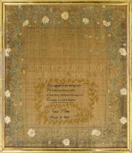 FRAMED ANTIQUE AMERICAN NEEDLEWORK SAMPLER Wrought by Sarah S. Fuller, Aged 12, 1824. Upper half with alphabets and numerals intersp...