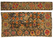 CENTRAL ASIAN SUZANI IN TWO PIECES Silk embroidery on linen. Field with diapered pattern of orange flower heads and green foliage. B...