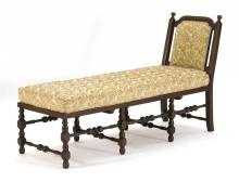 ANTIQUE AMERICAN DAYBED Maple frame with slanted back and block and turned base. Contemporary cushions. Overall height 37.5