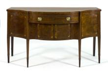 ANTIQUE AMERICAN HEPPLEWHITE SIDEBOARD Bears label for Thomas Burling of New York. In mahogany with extensive string inlay throughou...