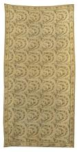 SUZANI NEEDLEWORK Crescent-shaped flowering branches of dark brown, beige and faded yellow on a light beige background. Narrow flora...