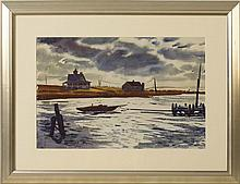 RANULPH BYE, Pennsylvania/New York/New Jersey, 1916-2003, A harbor, possibly Maine., Watercolor, 14