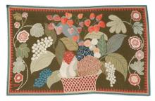 HOOKED RUG Depicts a fruit basket and flowering branches rendered in reds, blues, greens, brown and ivory on a brown background. Ser...