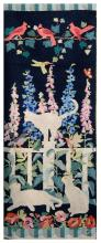 PICTORIAL HOOKED RUG White cats, songbirds, cardinals and a hummingbird in a garden setting against a black field. 26