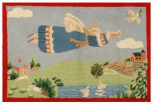 PICTORIAL HOOKED RUG A trumpeting angel and doves over a bucolic landscape with cottage and orchards. 24