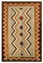 NAVAJO-TYPE MEXICAN WOOL SCATTER RUG With eye-dazzler chevrons in dark brown, ivory and dark gold. Small brown and red medallions on...