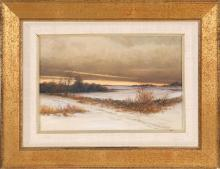 GEOFFREY MAWBY, American, Contemporary, Sunset over a winter landscape., Oil on canvas, 8