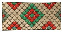 GEOMETRIC HOOKED RUG In a bold fish-scale pattern in brown, tan, green, gray, pink and red. 26