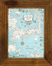 FRAMED VINTAGE MAP OF CAPE COD
