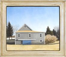 AMERICAN SCHOOL, 20th/21st Century, The blue barn., Oil on canvas, 20