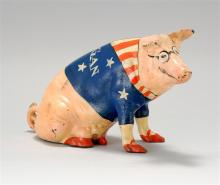 NANCY WHORF, Provincetown, 1930-2009, Cast iron pig-form still bank with painted decoration., Height 7.5