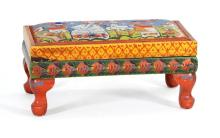 NANCY WHORF, Provincetown, 1930-2009, Wooden footstool with painted decoration., Height 9.5