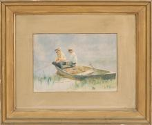 LAWRENCE CARMICHAEL EARLE, American, 1845-1921, Two boys fishing from a boat., Watercolor, 9.5