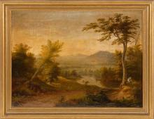 GEORGE NELSON CASS, American, 1831-1882, Landscape with distant mountains., Oil on canvas, 18