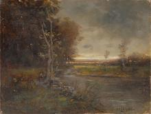 SCOTT (NICHOLAS WINFIELD) LEIGHTON, Massachusetts/Maine, 1849-1898, A gently bending stream with a sunset on the horizon., Oil on ca...