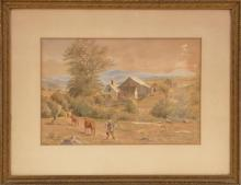 AMERICAN SCHOOL, Early 20th Century, Farm scene with distant mountains., Watercolor on paper, 8