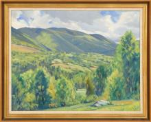WALLACE FAHNESTOCK, Vermont, 1877-1962, Mountain landscape, likely the Green Mountains of Vermont., Oil on canvas, 20