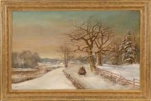 DANIEL CHARLES GROSE, American, 1838-1900, Sleigh ride down a snow-covered lane., Oil on canvas, 22